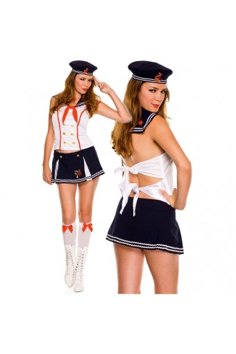 Sexy Flirty Hot Four Piece Collared Top Front Slits Skirt Sailor Sweetie Set w/ Hat Knee Hi