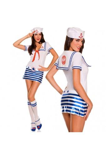 Sexy Flirty Hot Four Piece Collared Metallic Striped Sexy Shipmate Dress w/ Scarf w/ Hat Belt Knee Hi
