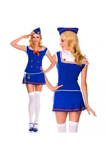 Sexy Flirty Hot Four Piece Sassy Sailor Collared Dress w/ Hat Loop Belt w/ Anchor Thigh Hi