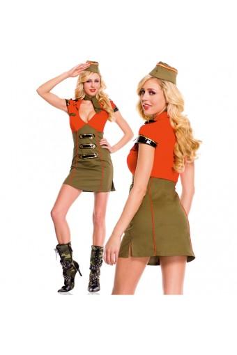 Hot Vixen Three Piece Deep V Neck Pencil Cut Dress w/ Hat Scarf Costume Cosplay Halloween