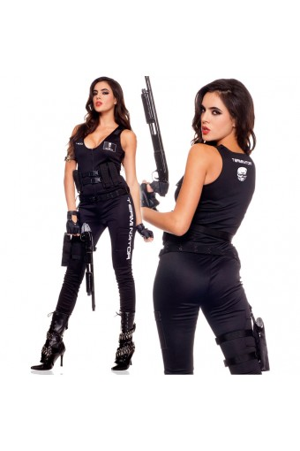 Five Piece Women's Terminator Jumpsuit w/ Glasses Biker Gloves Cartridge Belt Belt w/ Holster