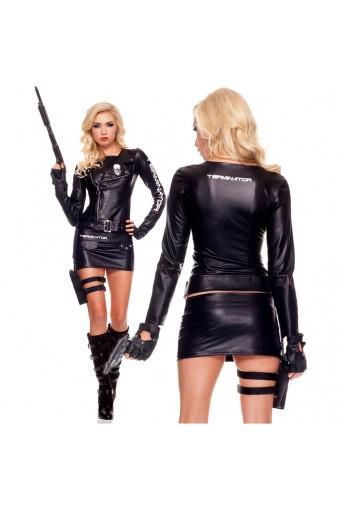 Five Piece Women's Zippered Terminator Motorcycle Jacket w/ Skirt Glasses biker Gloves Belt w/ Holster