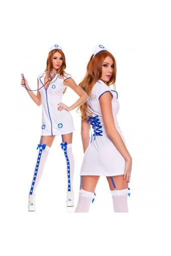 Four Piece Zip Up Front Racy Nurse w/ Head Piece Stethoscope Garter Clips Thigh Hi Costume Cosplay