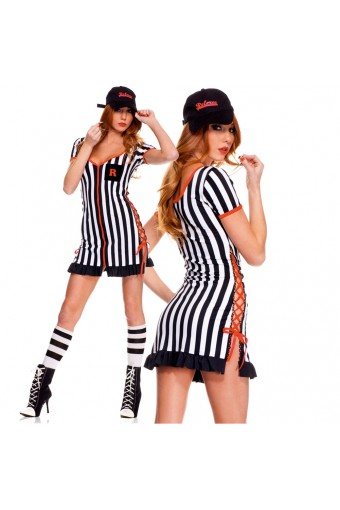 Sexy Fun Naughty Three Piece Zip Up Front Side Slit Lace Up Dress w/ Baseball Cap Whistle Costume