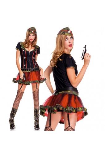 Five Piece Zip Front Top Tutu Dress w/ Detachable Garter Clips Belt Hat Thigh Hi Costume Cosplay