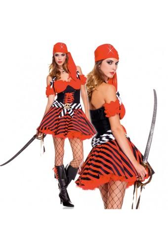 Three Piece Halter Pirate Dress w/ Head Scarf Waist Sash Cross Bone Buckle (Sword / Necklace Not Included)