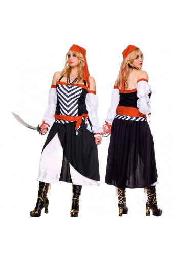 Three Piece Halter Neck Pirate Dress w/ Head Scarf Waist Sash (Sword Necklace Not Included)
