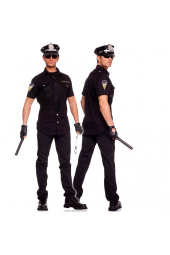 Sexy Flirty Five Piece Officer Arrest Me Police Set w/ Button Shirt Tie Hat Gloves Baton Costume Cosplay