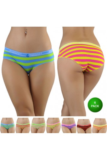 Striped Cotton Bikini Panty With Elastic Waist - 6_PACK