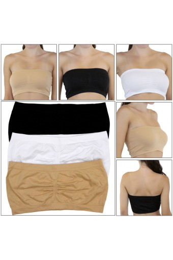 Pack of 6 Strapless Seamless No Tag Classic Bandeau Tube Bra - One Size