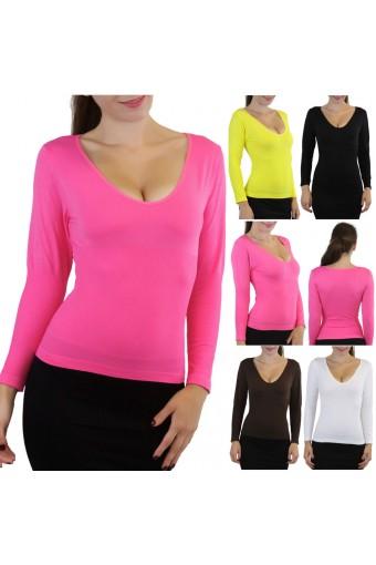 Soft Long Sleeve V-Neck Seamless Slimming Top