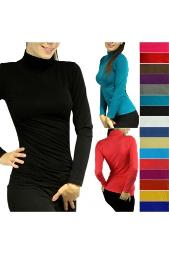 Sexy Soft Seamless Stretch Long Sleeve Mock Neck Turtleneck Blouse Top - One Size