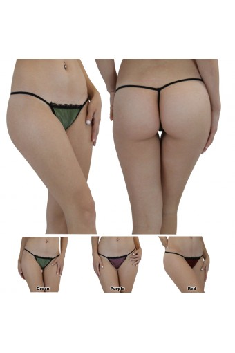 Sheer Mesh Overlay G-String Thong