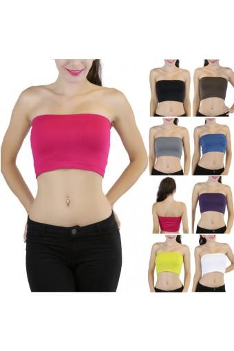 Basic Strapless Seamless Layering Nylon Wire-Free Bandeau Tube Top