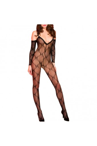 Off Shoulder Bow Lace Crypt Hoses Bodystocking Color: Black