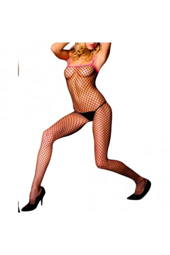 Contrast DiamondNet Crotchless Bodystocking