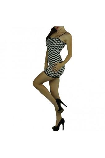 Checkered Mini-dress Color: White/Black