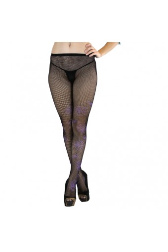 ToBeInStyle Women's Fishnet Spiderweb Tights With Contrast Color - Black - One Size