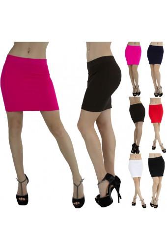 Seamless Microfiber Slim Nylon Pull-On Closure Mini Skirt