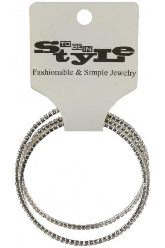 Triple Ridged Rings Metallic Bracelet
