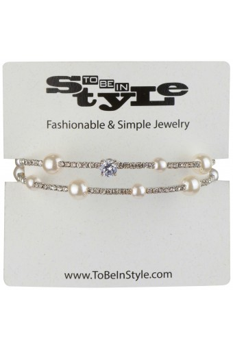 Simulated Pearl String and Crystal Bracelet
