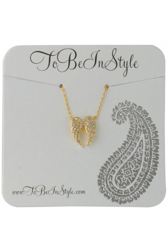 Gold-Tone Wings w/ Crystal Embedding Necklace