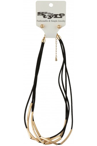 Multiple Gold-Tone Wrapped Black String Necklace