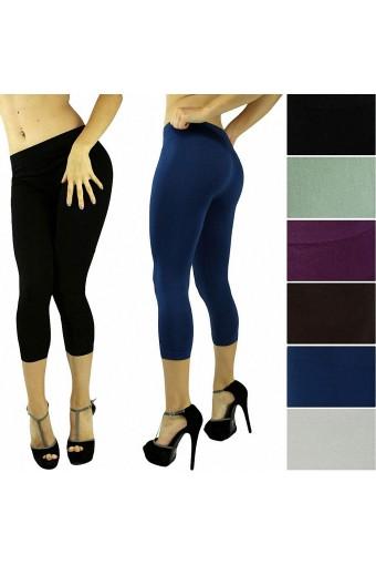 Women's Sexy Seamless Opaque Cropped Capri Leggings Tights