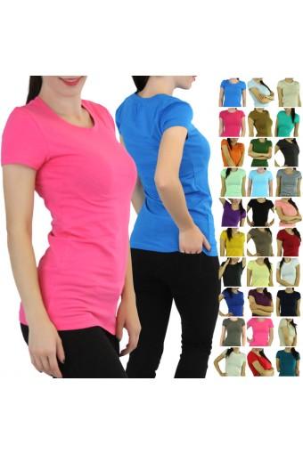 Comfy Soft Knit Shortsleeve Crewneck T-Shirt Top Blouse Long Tunic