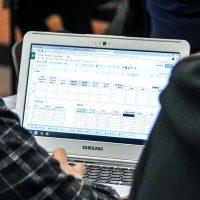 Screenshot on laptop of planning software