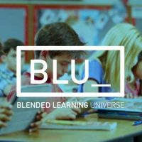 Blended Learning Universe logo with students in background