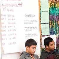 Large paper chart with schedule written out pasted to board with students sitting nearby