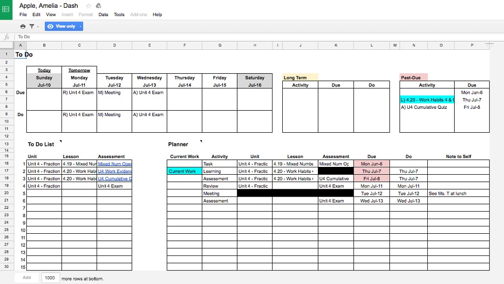 This is a sample weekly planning sheet from the Google version of the LPS student dashboard.