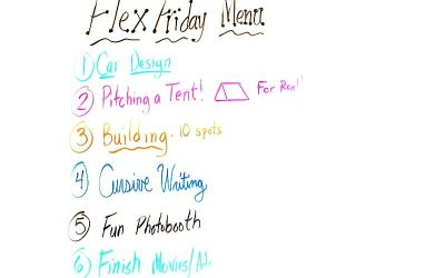 Example of a Flex Friday menu with ideas listed in different colors