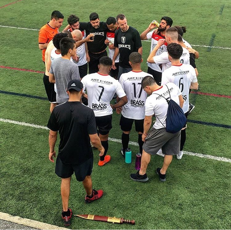 Providence City FC Team Huddle