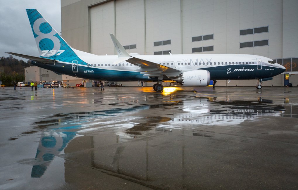 The rollout of Boeing's first 737 MAX 8 outside the 737 final assembly factory in Renton on Tuesday December 8th, 2015.