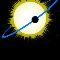 Cartoon of sun and planet
