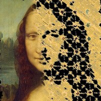 The original painting of Mona Lisa overlaid with an atomic force microscopy image of the Mona Lisa self-assembled from DNA origami tiles.