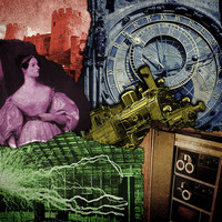 A colorful collage showing bits from the history of science and technology, including a portrait of Ada Lovelace, a castle, a steam locomotive, Nikola Tesla, and a PDP-7 computer