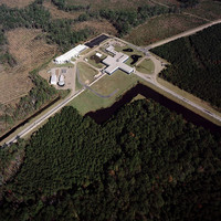 aerial photo of the LIGO facility in Livingston, Louisiana