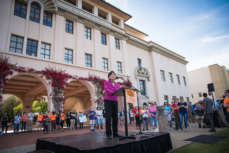 U.S. congresswoman Judy Chu greets participants at the start of the march. Other speakers included Caltech professors, scientists, and staff, as well as state politicians and other local leaders.
