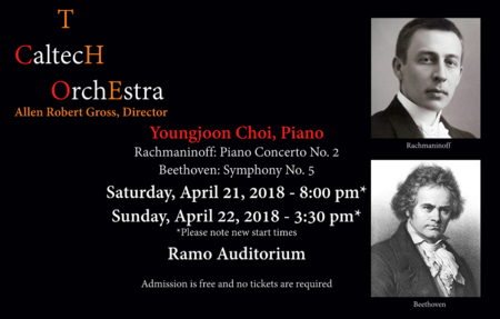 flyer for the April 2018 Caltech Orchestra concerts
