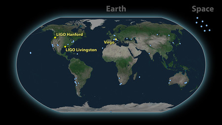 Map of the approximately 70 light-based observatoriesthat detected the gravitational-wave event called GW170817.