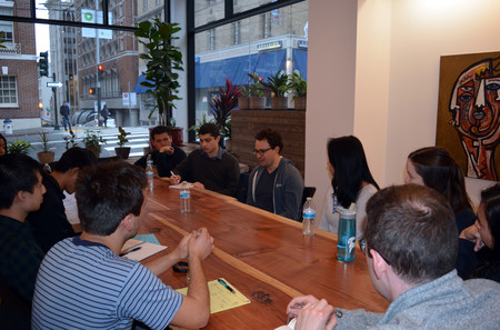 In San Francisco, students join a roundtable discussion with Dario Amodei (EX '05) from Open AI.
