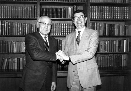 Arnold Beckman and Harry Gray in 1981.