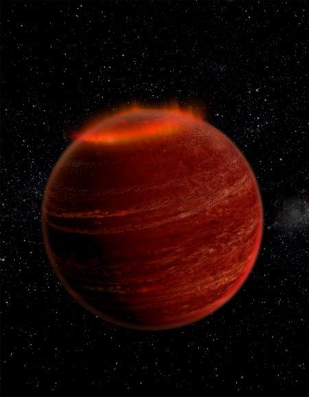 Nordlys på en brun dværg stjerne