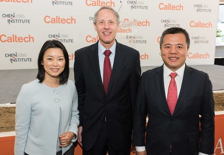 Chrissy Luo, Caltech President Thomas F. Rosenbaum, and Tianqiao Chen