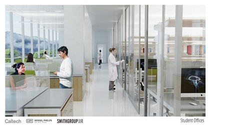 A conceptual rendering for the inside of the Tianqiao and Chrissy Chen Research Building. The shared laboratory and work space is meant to foster collaboration and the exchange of ideas among researchers.
