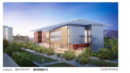 A conceptual rendering of the Tianqiao and Chrissy Chen Neuroscience Research Building with Moore Walk in the foreground.