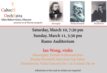 image of flyer for Caltech Orchestra concert